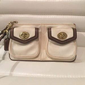 Classic COACH wristlet - ivory and brown trim