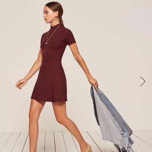 Brand New Reformation Stowe Dress Garnet Color XS