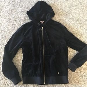 JUICY COUTURE Velour Black Zip Up Hoodie Jacket