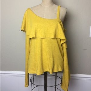 Anthropologie one shoulder ruffle top