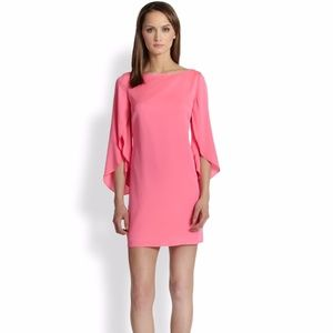 Milly Pink Butterfly Sleeve Stretch Silk Dress