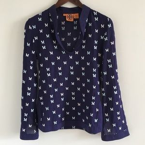 🆕 Tory Burch 100% Cotton Navy Butterfly Tunic