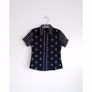 Rayure Paris Black Microfloral Collared Shirt sz 8