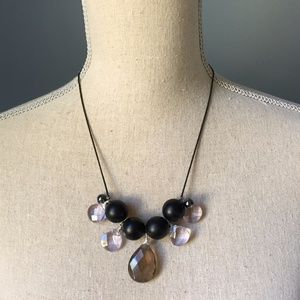 Dark Princess Tinted Glass & Black Ball Necklace