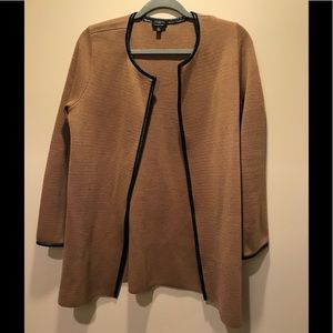 Talbots Merino Wool Leather Open Cardigan Coat