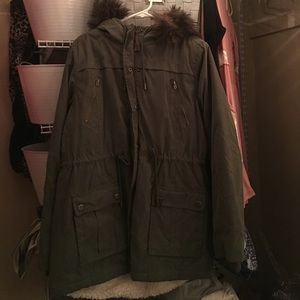 furry army green coat