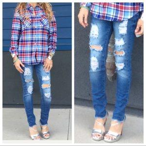 Denim - Distressed skinny jeans size 9