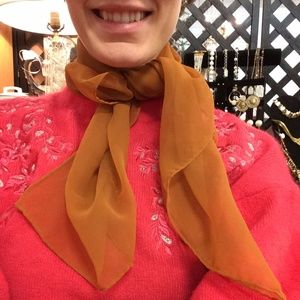 Sheer Vintage Fall Orange/Brown Neck or Hair Scarf