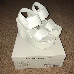 White Steve Madden Sanders Platform Sandals