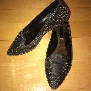 Stunning BCBG Black Leather Flats