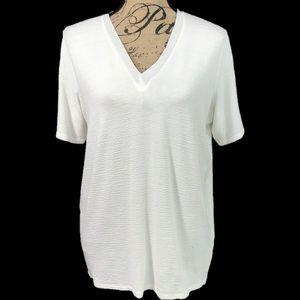 Zara W&B Collection off-white V neck Tee