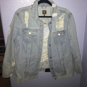 Brand New Distressed Denim Jacket XL