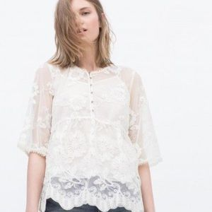 ZARA ivory embroidered lace top buttons crochet