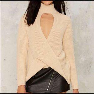 Beige choker sweater NWT