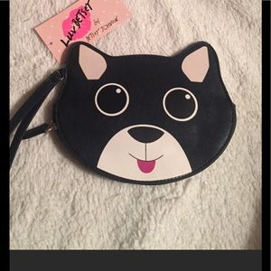 Betsey Johnson Black Kitten Wristlet