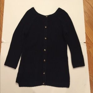 Navy sweater with buttons on back