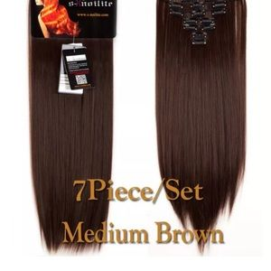 7 piece16clips DARKbrown synthetic hair extensions