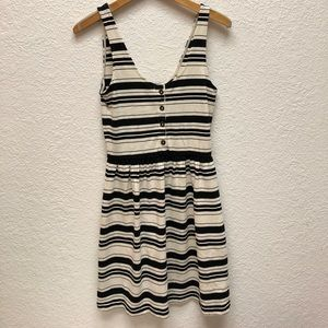 JCrew black and white striped button-up dress