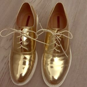 Gold Zara Oxford Shoes Size 40, 10 US