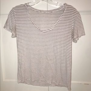 Blue and red striped v neck