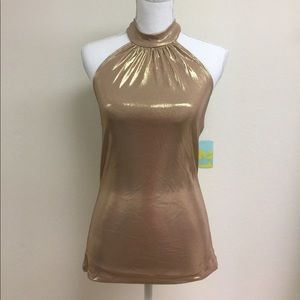 NWT gold halter top