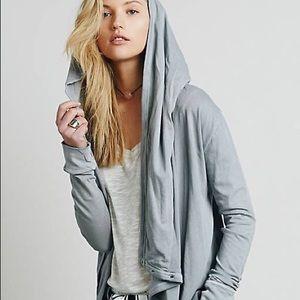 🌙Free People Wrap Ruffle Cardi Dark Grey