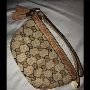 Gucci Beige/Brown Jacquard Clutch Wristlet *NEW*