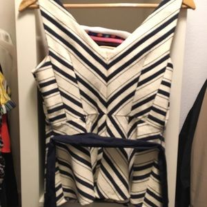 Top size 6 stripes navy blue and beige. Like new.
