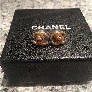 Authentic Chanel Turn-lock earrings studs