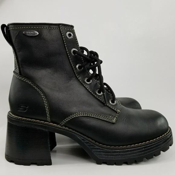 1126970c2c45 M 59e6dc024e8d17c256078f87. Other Shoes you may like. 90s Vintage Black Leather  Skechers Combat Boots. 90s Vintage Black Leather Skechers Combat Boots