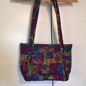 Bright Geometric Patterned Cotton Quilted Tote Bag