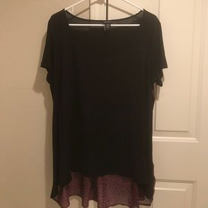 Torrid Black Knit Top with Hot Pink Leopard Print