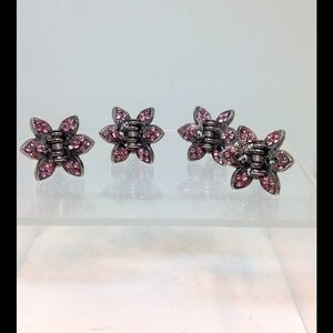Hair Clips SET/4 Pink Crystal & Heavy Silver Metal