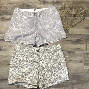 Set of 2 LOFT Linen Cream Tan white Floral Shorts