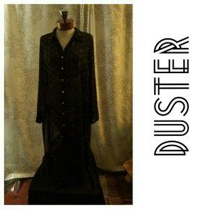 Long Black sheer duster blouse