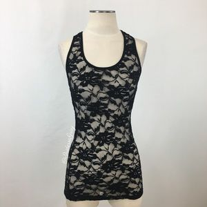 Forever 21- Stretch Floral Black Lace Racer Tank S