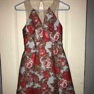 Topshop jacquard oriental floral design dress