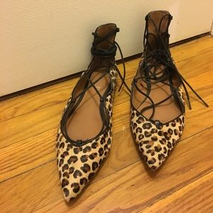 Zara Leopard, lace up flats