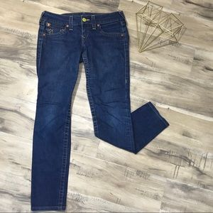 True Religion Dark Straight Leg Jeans Flap Pockets