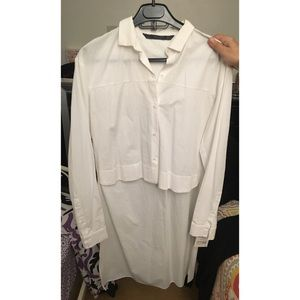 Zara High Low White Long Sleeve Poplin