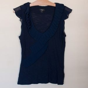 Anthro Deletta navy blue textured ruffled blouse