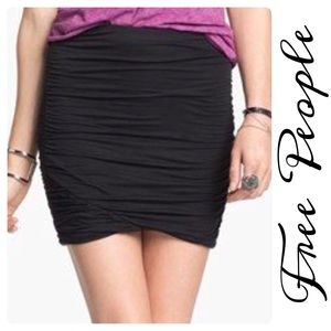 Free People Black Mini Skirt Ruched Soft Stretchy