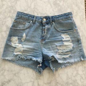 Zara High Waisted Grommet Denim Shorts