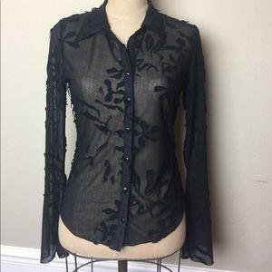 Bebe sheer appliqué button front shirt