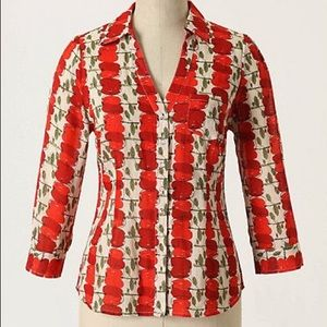 Anthro We ❤️Vera Red Delicious Apple Blouse Sz 2
