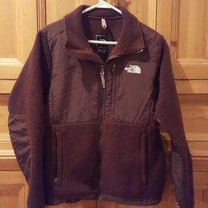 Brown North Face fleece jacket