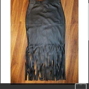 Windsor pleather black Fringe Midi Skirt