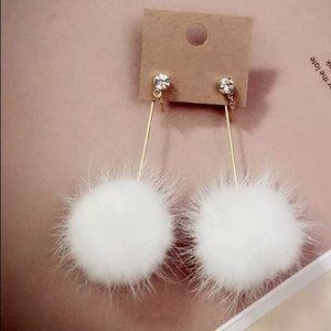 White Fur Ball Pom Pom Earrings