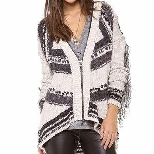 Free People Show Me The Way Fringe Hooded Cardigan