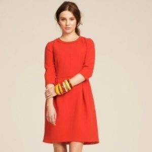 J. Crew Wool 3/4 Sleeve Teddie Dress in Red Size 6